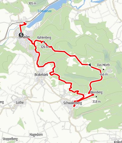 Kaart / Naturparktrail Schwalenberger Wald - Südroute