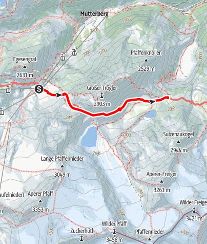 Mapa / Dresdner Hütte - Peiljoch (2676 m) - Sulzenau Hütte