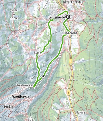 Kaart / Der Weg zu den Kapellen der Gemeinde Vaz/Obervaz - Variante 2