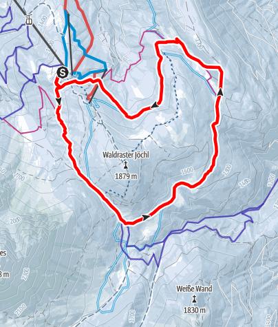 Map / Miederer Berg - Waldrasterjöchl Variante 1