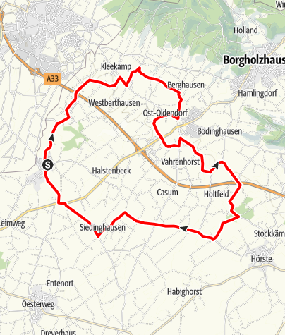 Kaart / R 11 | Von Bockhorst bis Borgholzhausen und zurück