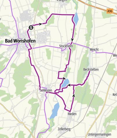 Karte / Radtour von Bad Wörishofen nach Beckstetten