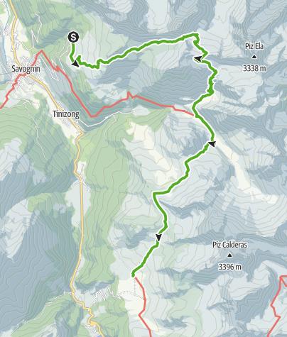 Karte / Plang la Curvanera - Pass digls Orgels - Pass d'Ela - Alp Flix