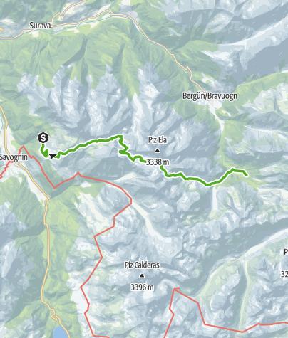 Karte / Plang la Curvanera - Pass digls Orgels - Pass d'Ela - Preda