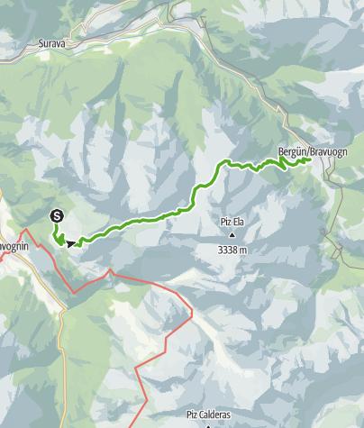 Karte / Plang la Curvanera - Pass digls Orgels - Bergün