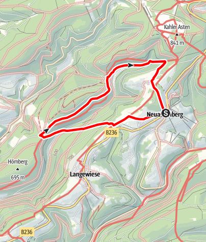 Karte / Hoher-Knochen-Weg (N2) Start: Winterberg-Neuastenberg