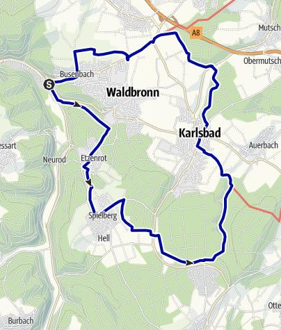 Karte / Aussichtsreich um Waldbronn und Karlsbad