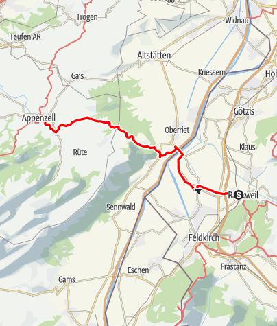 Karte / Jakobsweg Vorarlberg: Rankweil–Appenzell