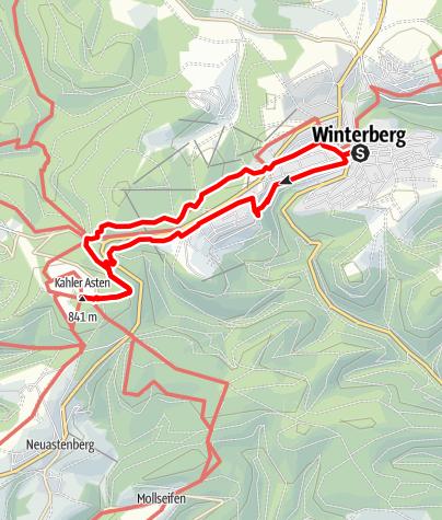 Karte / Winterberger Hochtour - WHT (Etappe 1) von Winterberg nach Kahler Asten