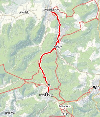 Karte / Winterberger Hochtour - WHT (Etappe 3) von Altastenberg nach Siedlinghausen