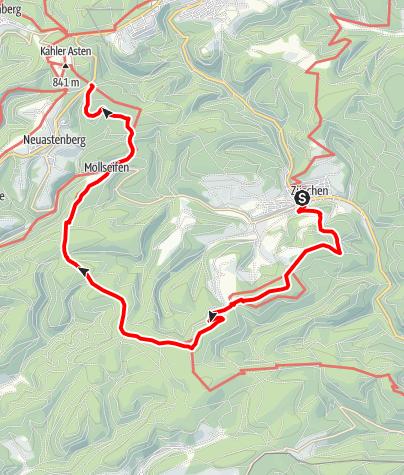 Karte / Winterberger Hochtour - WHT (Etappe 8) von Züschen nach Mollseifen