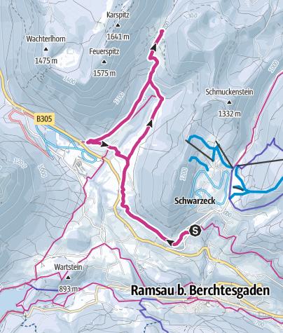 Karte / Soleleitung westwärts zur Mordaualm