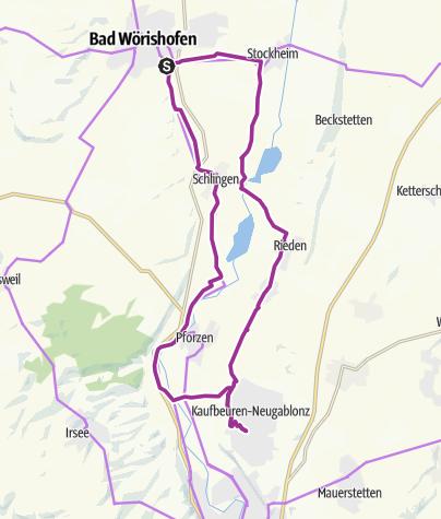 Karte / Radtour von Bad Wörishofen nach Neugablonz