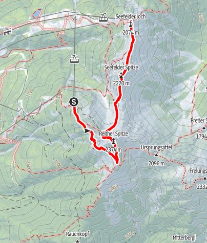 Kaart / Königstour - Reitherspitze und Seefelderspitze