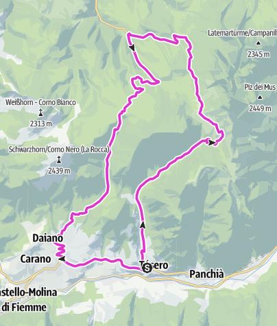 Cartina / Tour Pampeago - P.so Lavazè