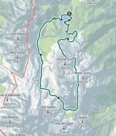 Karte / Ein- oder zweitägige Rundwanderung um die Campa-Gruppe in den Brenta-Dolomiten