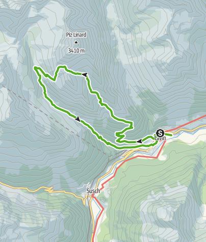 Karte / Chamanna Linard – Fuorcla da Glims – Val Sagliains