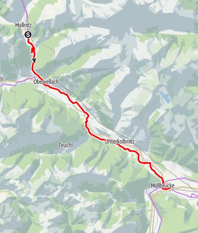 Karte / Ciclovia Alpe-Adria Radweg, 3. Etappe: Mallnitz- Spittal an. d. Drau