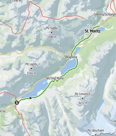 Karte / 25.03 Maloja - Pontresina, Senda Segantini