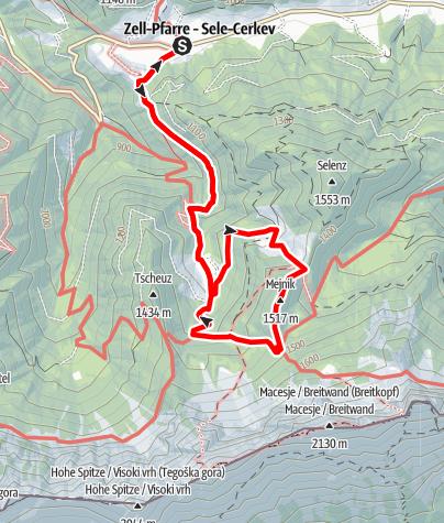 Karte / Von Zell über Kobounikalm und Mejnik zum Koschutahaus