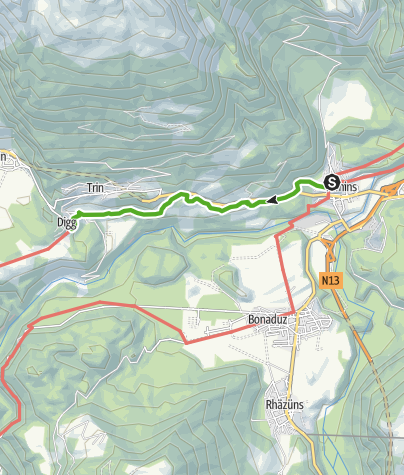 Karte / 43.13 Tamins - Trin Digg, Jakobsweg Graubünden