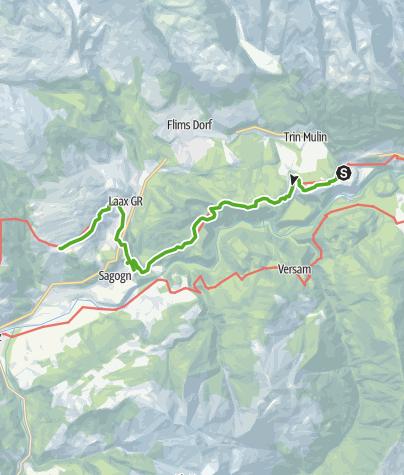 Karte / 43.14 Trin Digg - Laax (Falera), Jakobsweg Graubünden