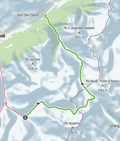 Map / Spektakulärer Felsenweg im Val d'Uina