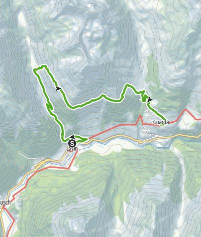 Karte / Via Engiadina. Etappe 1b, Zernez - Guarda (lang)
