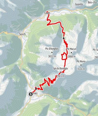 Kaart / Zernez - Munt Baselgia - Macun Seen - Alp Zeznina - Lavin