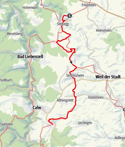 Karte / Gäurandweg Etappe 2  Tiefenbronn - Stammheim