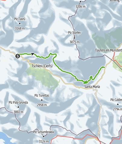 Karte / Senda Val Müstair (Süsom Givè - Alp da Munt - Alp Champatsch - Lü - Müstair)