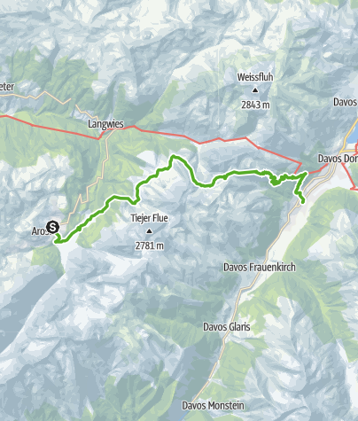 Kaart / 54.02 Arosa - Davos, Mittelbünden-panoramaweg
