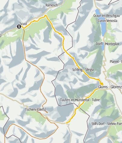Karte / Uina-Bernina Bike-Tour. Etappe 1, Scuol – Sta. Maria