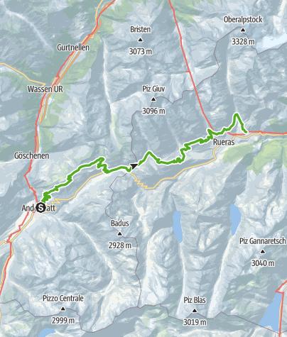Karte / 85.01 Andermatt - Sedrun, Senda Sursilvana