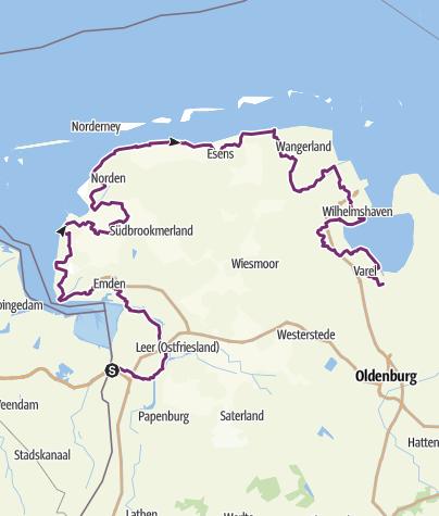 Map / North Sea Cycle Route/ Nordseeküsten-Radweg