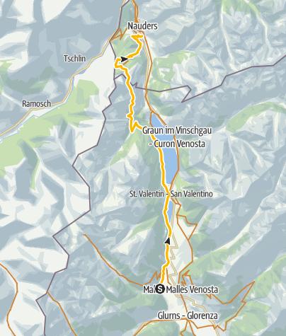 Karte / 443.03: Fimberpass - Val d'Uina - Reschenpass: Schleis / Mals – Martina