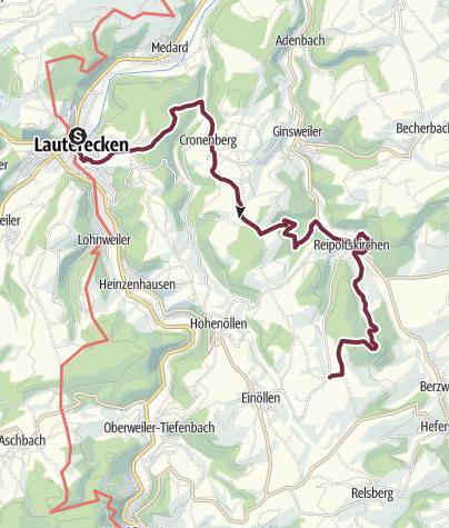 Karte / Veldenz-Wanderweg - Etappe 5 (Ausbacherhof - Schloß Veldenz in Lauterecken) - Leading-Quality-Trail - Best of Europe