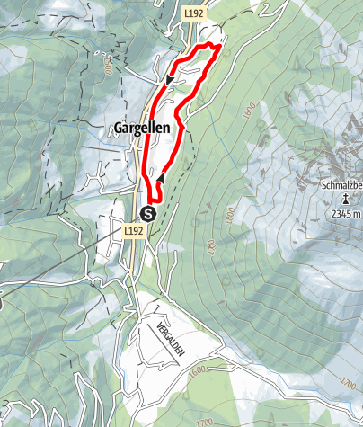Map / Nordic Walking Strecke Dorfrunde Gargellen